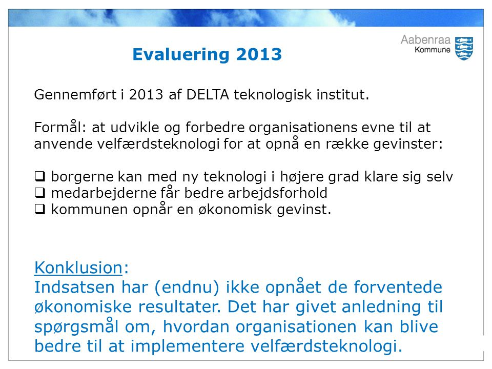 Evaluering 2013 Konklusion: