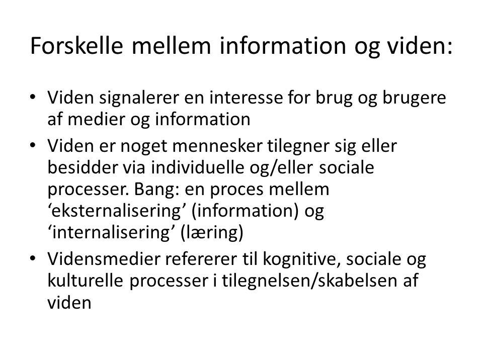 Forskelle mellem information og viden: