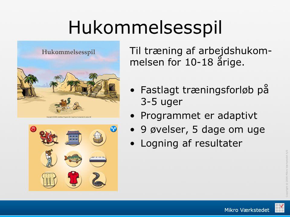 Hukommelsesspil Til træning af arbejdshukom-melsen for 10-18 årige.