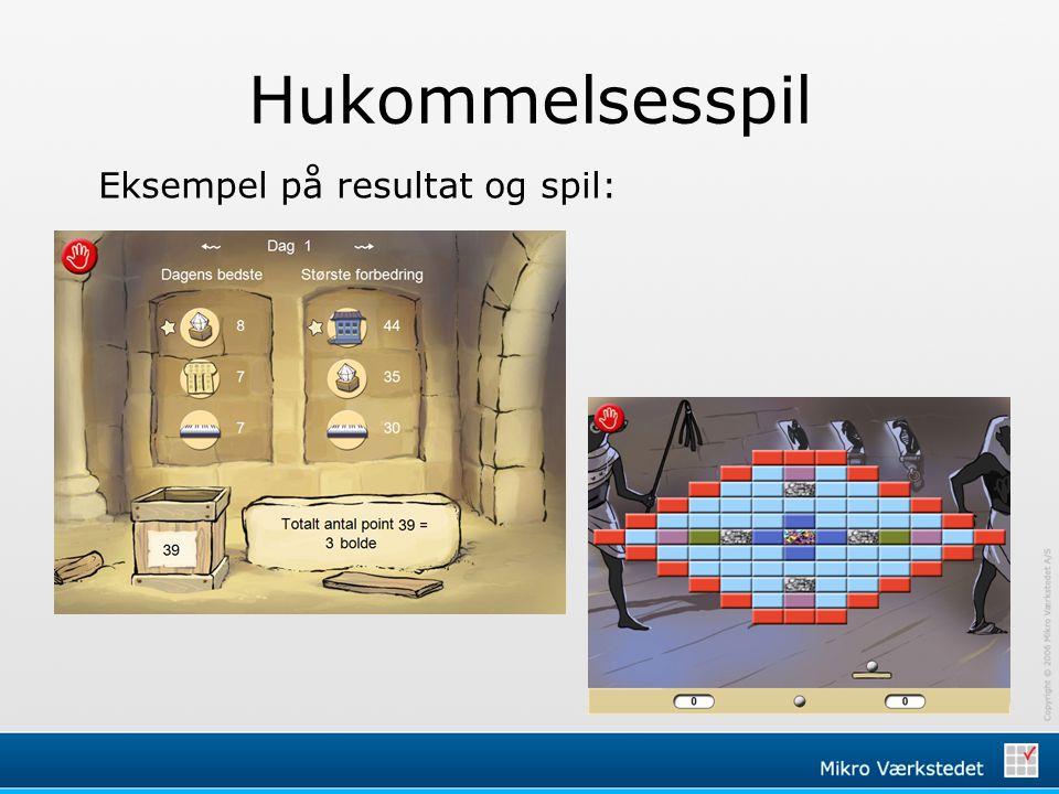 Hukommelsesspil Eksempel på resultat og spil: