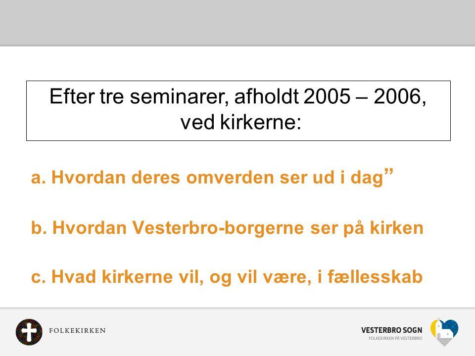 Efter tre seminarer, afholdt 2005 – 2006,
