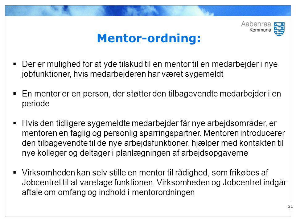 Mentor-ordning: Der er mulighed for at yde tilskud til en mentor til en medarbejder i nye jobfunktioner, hvis medarbejderen har været sygemeldt.