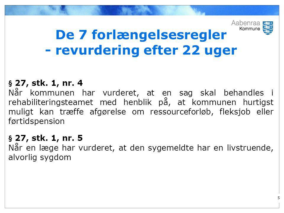 De 7 forlængelsesregler - revurdering efter 22 uger