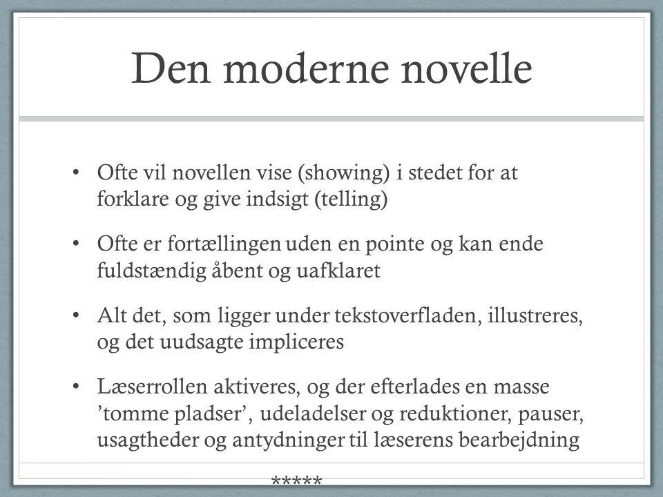 Den moderne novelle Ofte vil novellen vise (showing) i stedet for at forklare og give indsigt (telling)