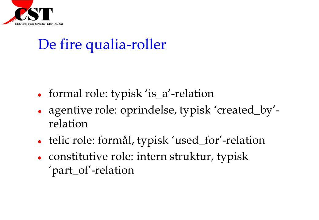 De fire qualia-roller formal role: typisk 'is_a'-relation