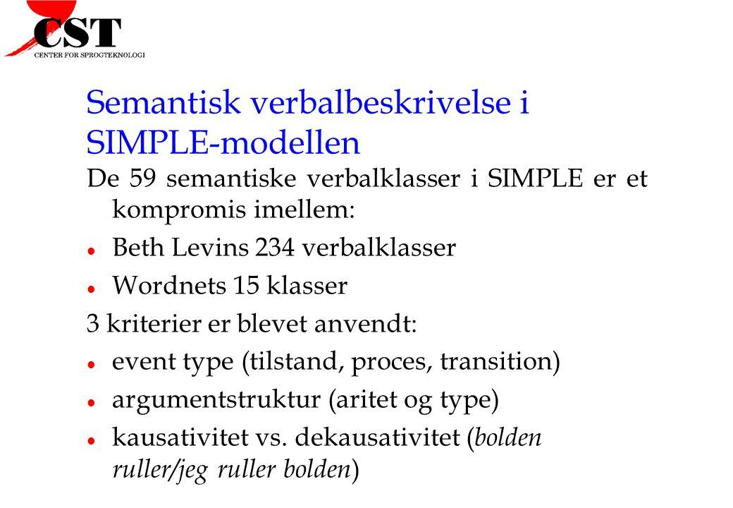 Semantisk verbalbeskrivelse i SIMPLE-modellen