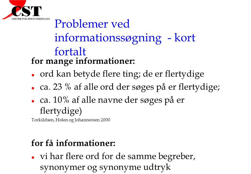 Problemer ved informationssøgning - kort fortalt