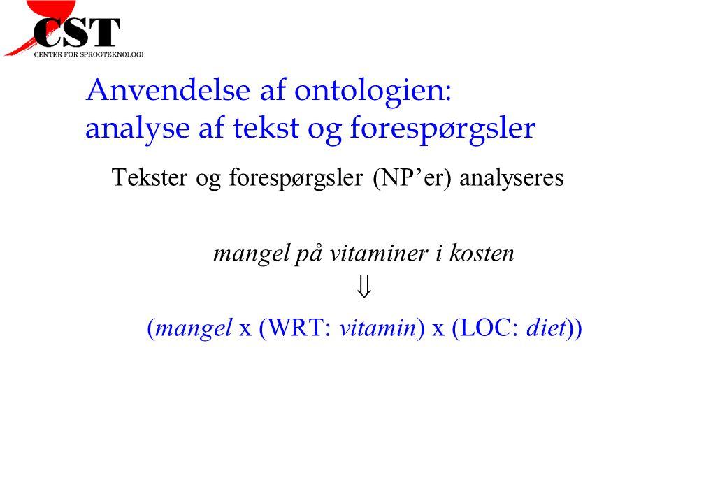 Anvendelse af ontologien: analyse af tekst og forespørgsler