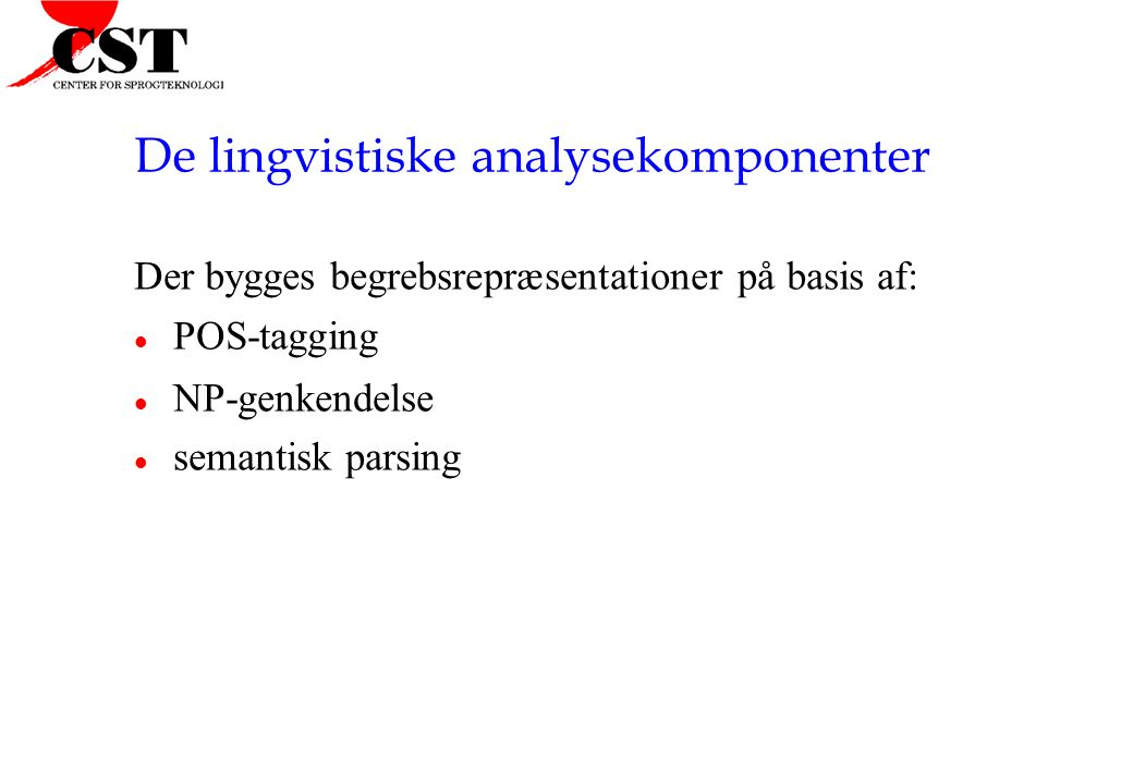 De lingvistiske analysekomponenter