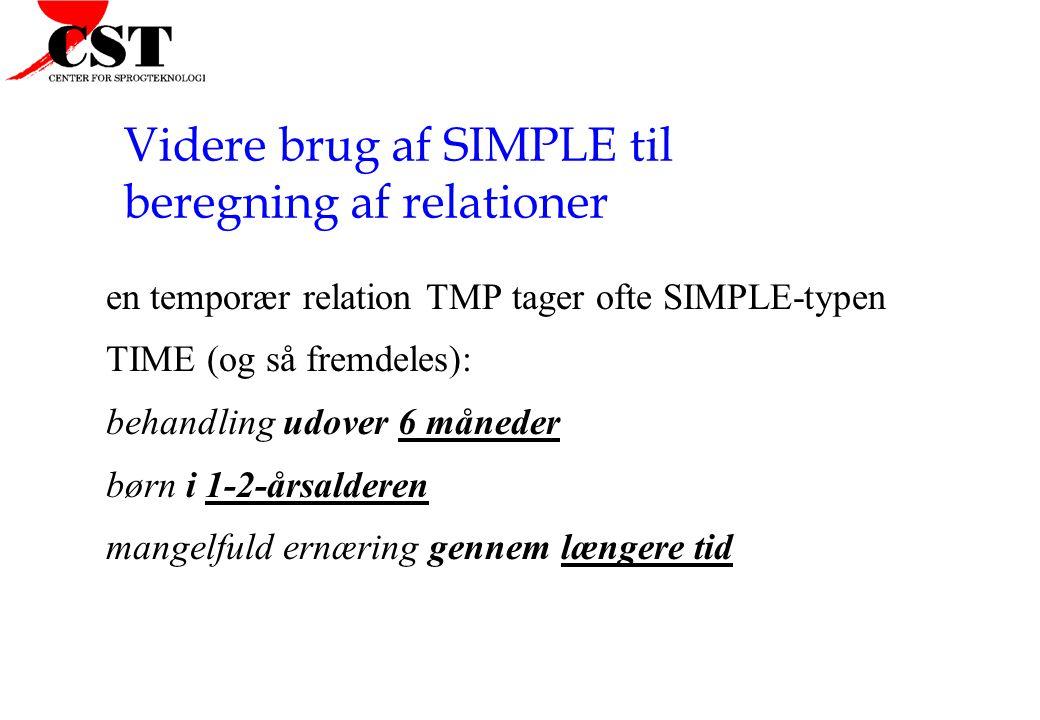 Videre brug af SIMPLE til beregning af relationer