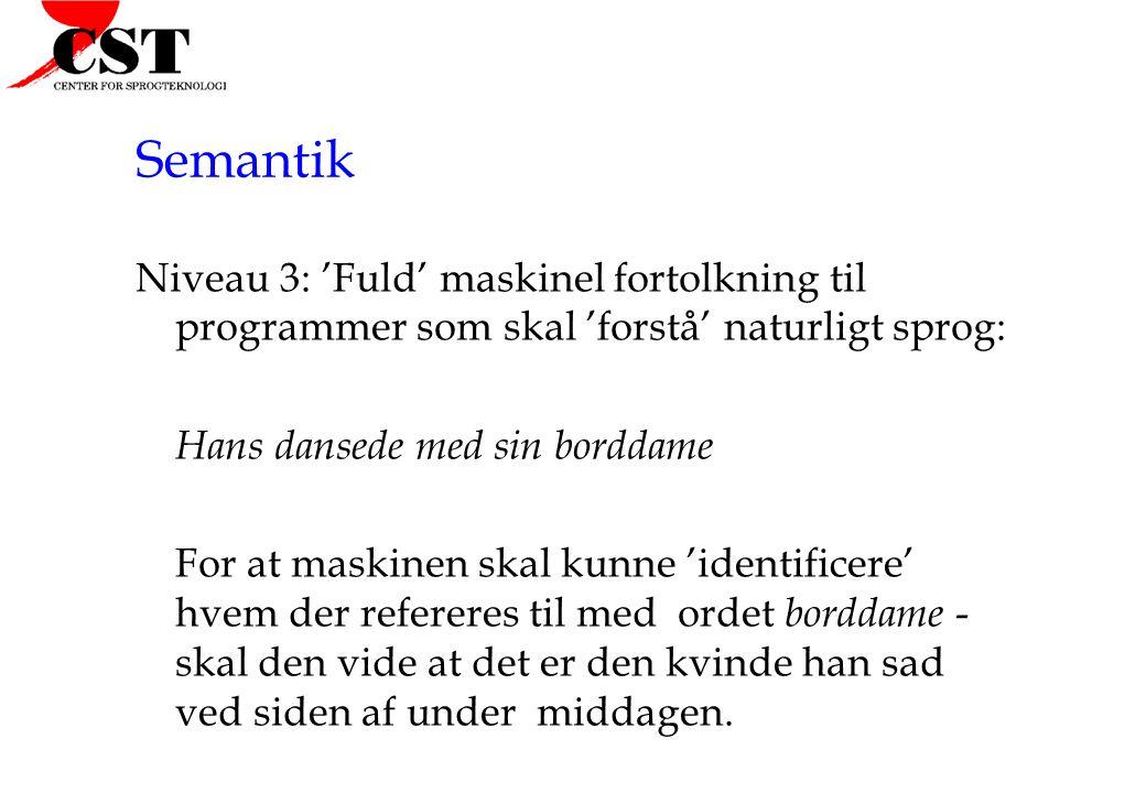 Semantik Niveau 3: 'Fuld' maskinel fortolkning til programmer som skal 'forstå' naturligt sprog: Hans dansede med sin borddame.