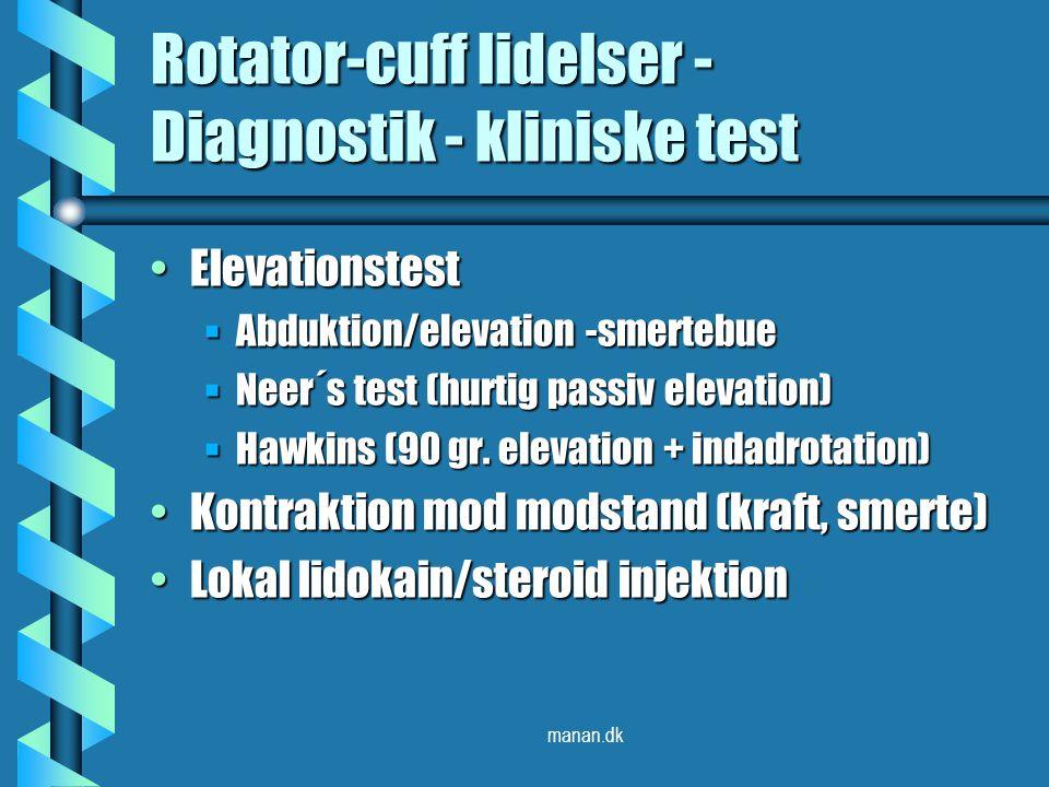 Rotator-cuff lidelser - Diagnostik - kliniske test