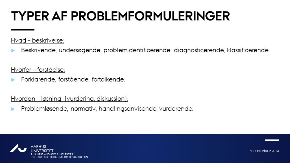 Typer af problemformuleringer