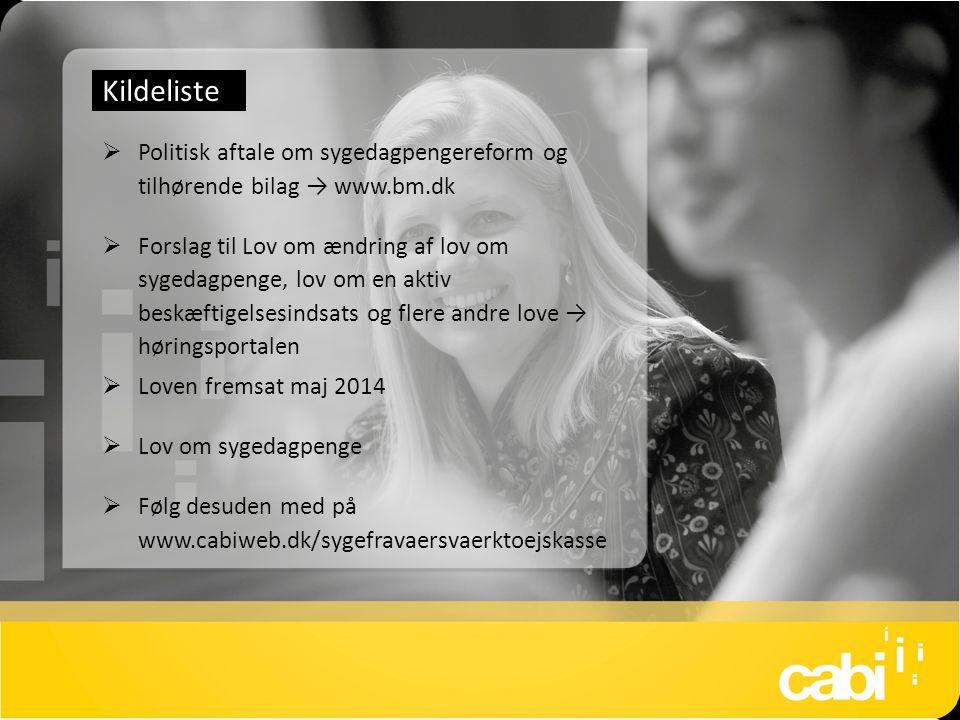 Kildeliste Politisk aftale om sygedagpengereform og tilhørende bilag → www.bm.dk.