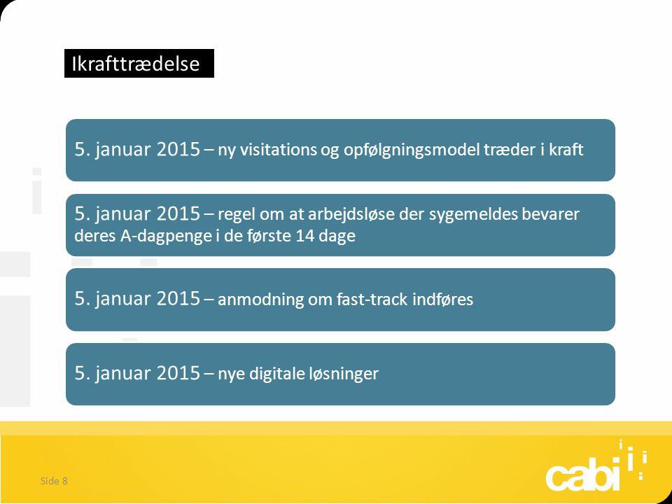 Ikrafttrædelse 5. januar 2015 – ny visitations og opfølgningsmodel træder i kraft.