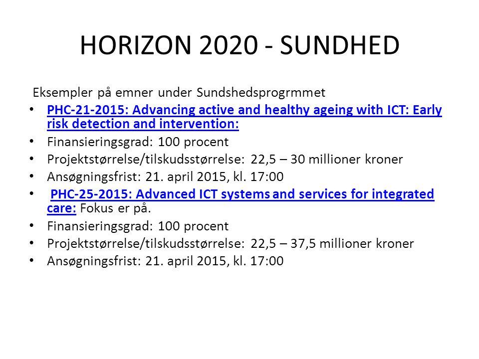 HORIZON 2020 - SUNDHED Eksempler på emner under Sundshedsprogrmmet