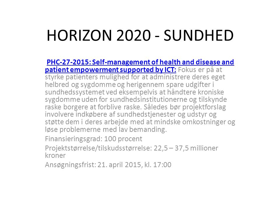 HORIZON 2020 - SUNDHED