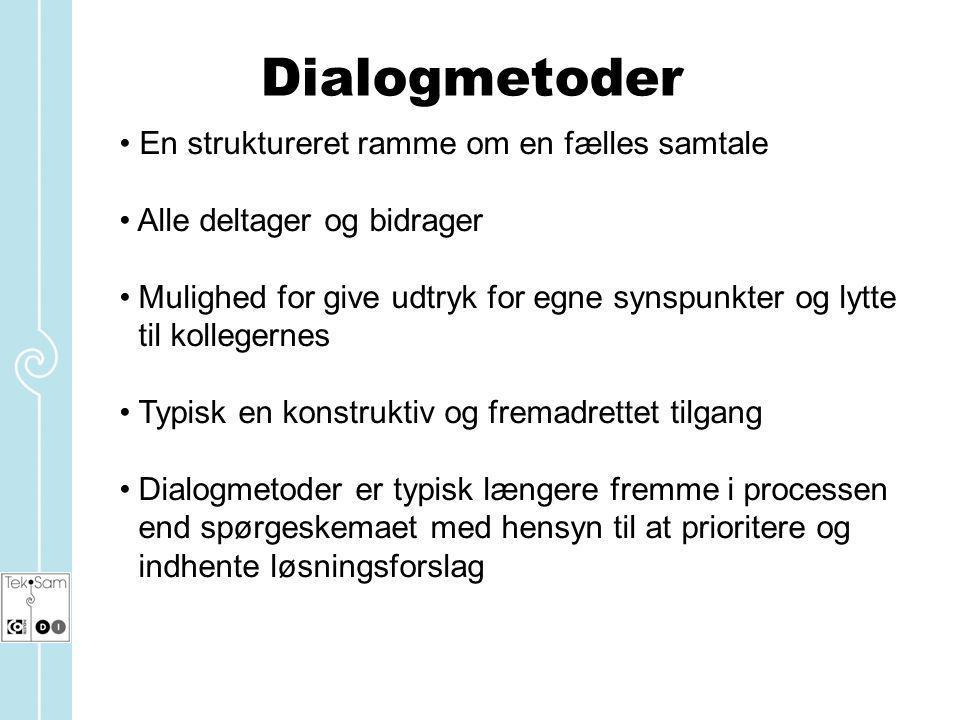 Dialogmetoder En struktureret ramme om en fælles samtale