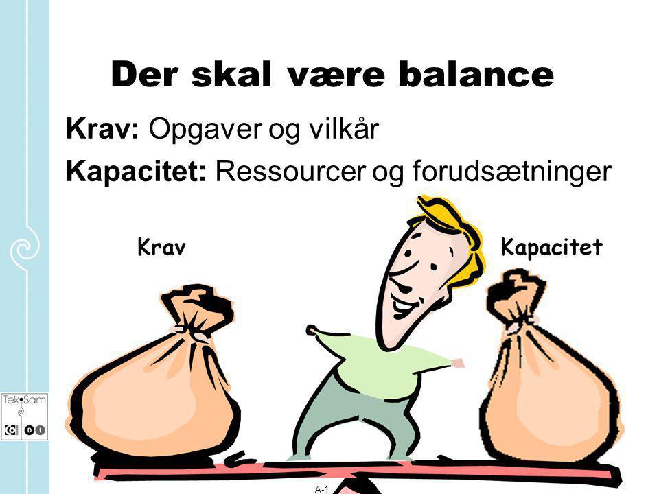 Der skal være balance Krav: Opgaver og vilkår
