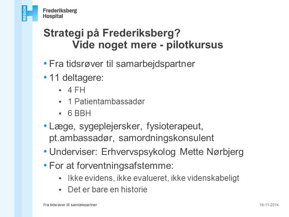 Strategi på Frederiksberg Vide noget mere - pilotkursus