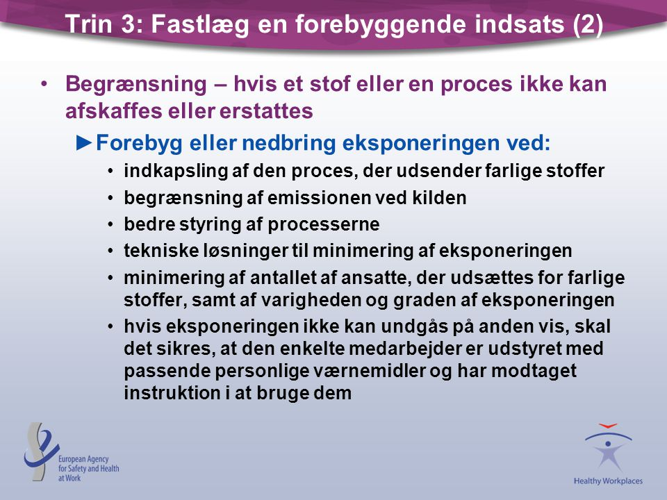 Trin 3: Fastlæg en forebyggende indsats (2)