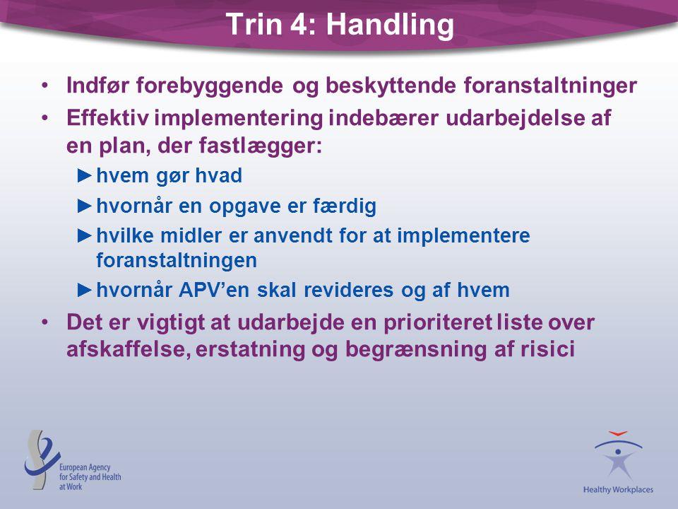 Trin 4: Handling Indfør forebyggende og beskyttende foranstaltninger