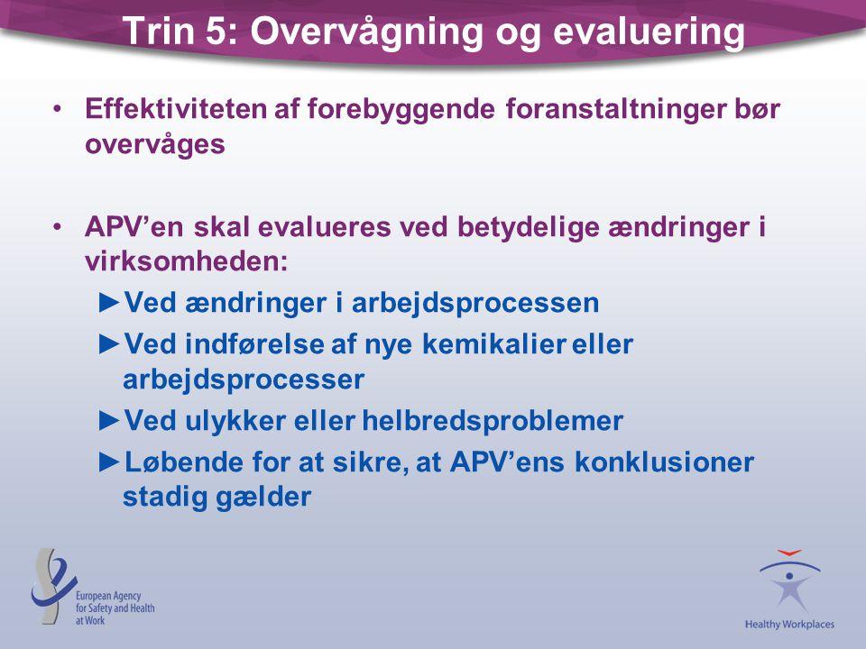Trin 5: Overvågning og evaluering