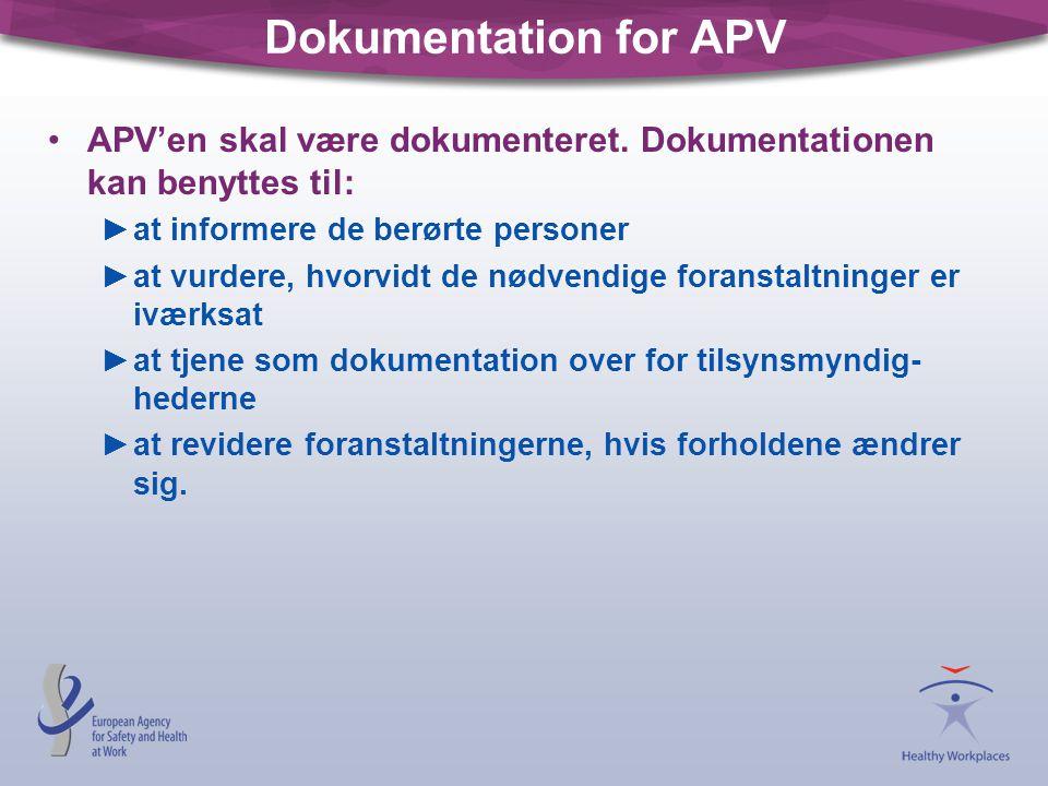 Dokumentation for APV APV'en skal være dokumenteret. Dokumentationen kan benyttes til: at informere de berørte personer.