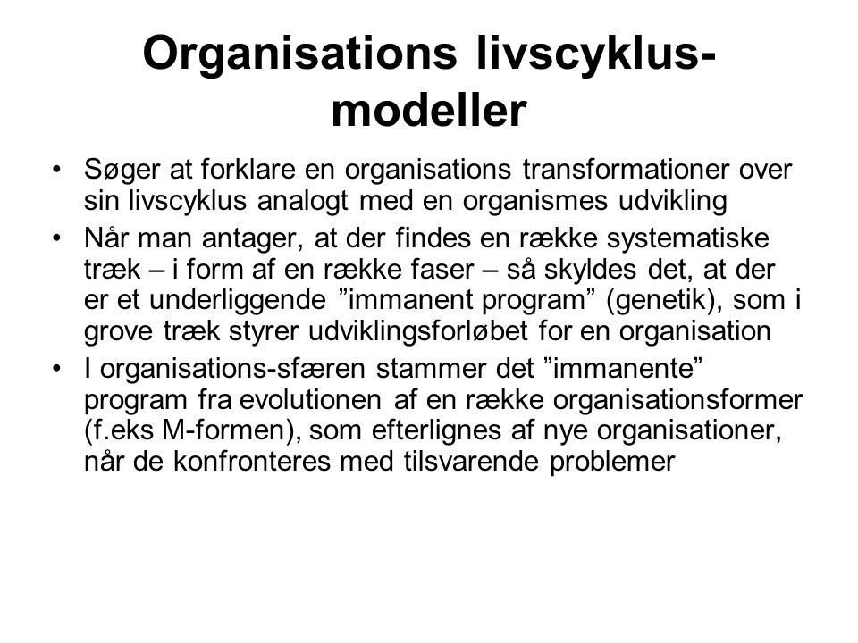 Organisations livscyklus-modeller