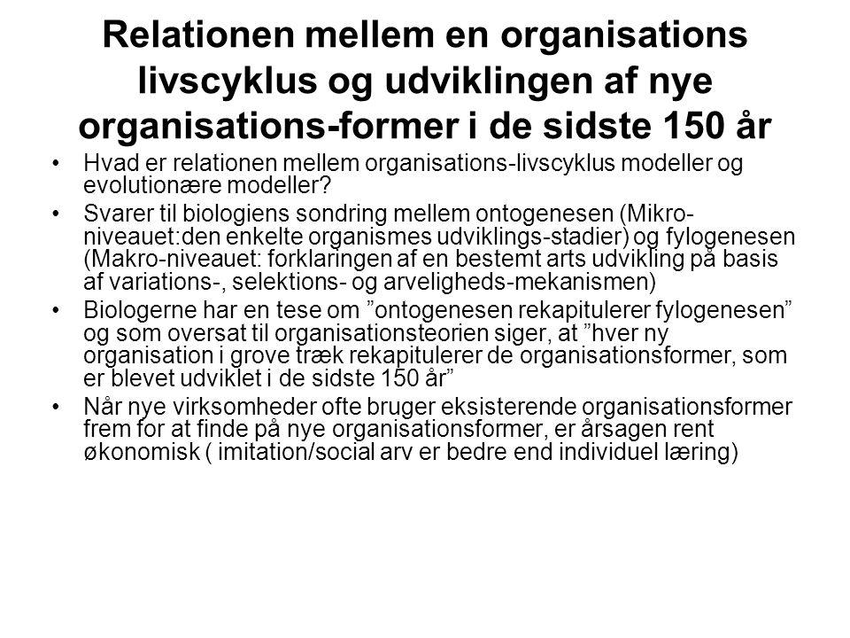 Relationen mellem en organisations livscyklus og udviklingen af nye organisations-former i de sidste 150 år