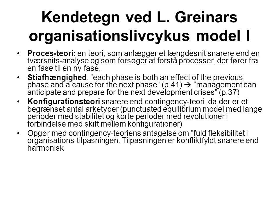 Kendetegn ved L. Greinars organisationslivcykus model I