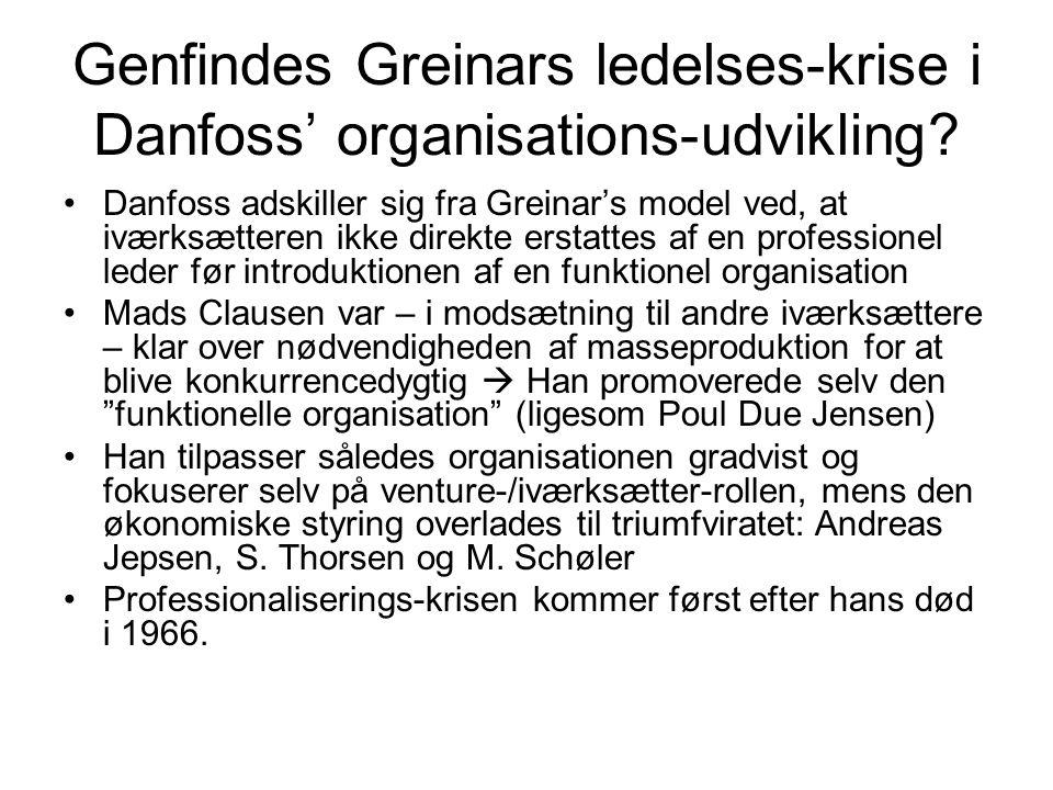 Genfindes Greinars ledelses-krise i Danfoss' organisations-udvikling