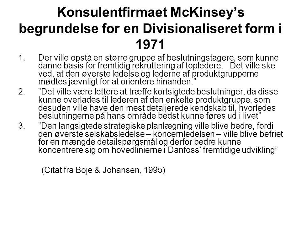 Konsulentfirmaet McKinsey's begrundelse for en Divisionaliseret form i 1971