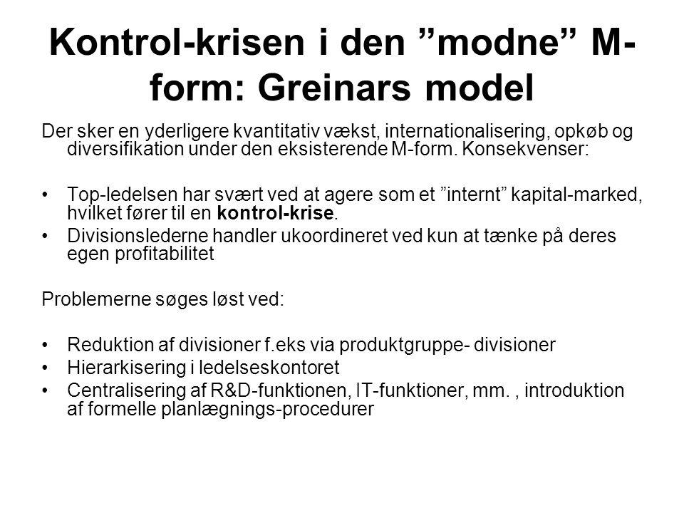 Kontrol-krisen i den modne M-form: Greinars model