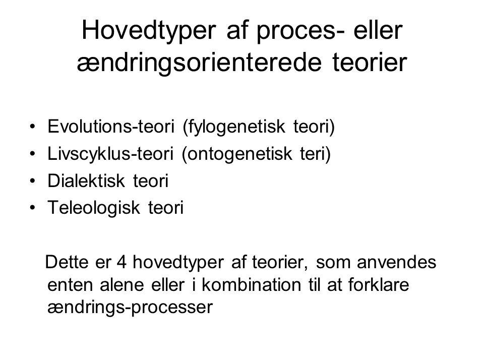 Hovedtyper af proces- eller ændringsorienterede teorier