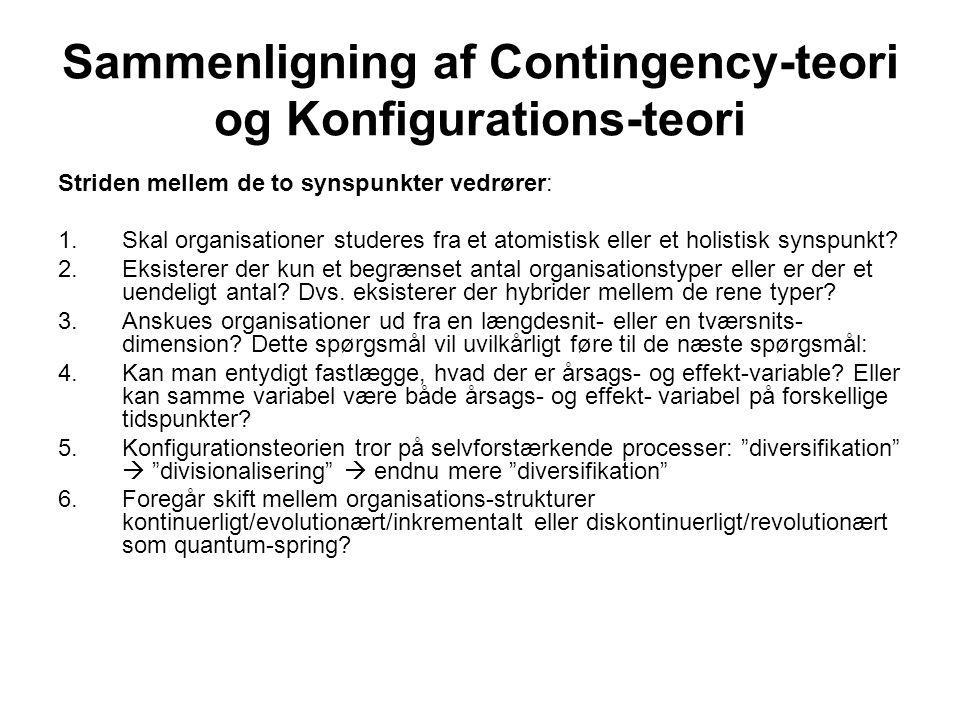 Sammenligning af Contingency-teori og Konfigurations-teori