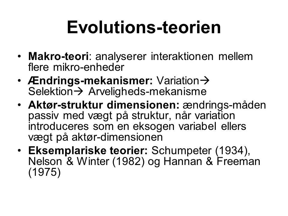 Evolutions-teorien Makro-teori: analyserer interaktionen mellem flere mikro-enheder.