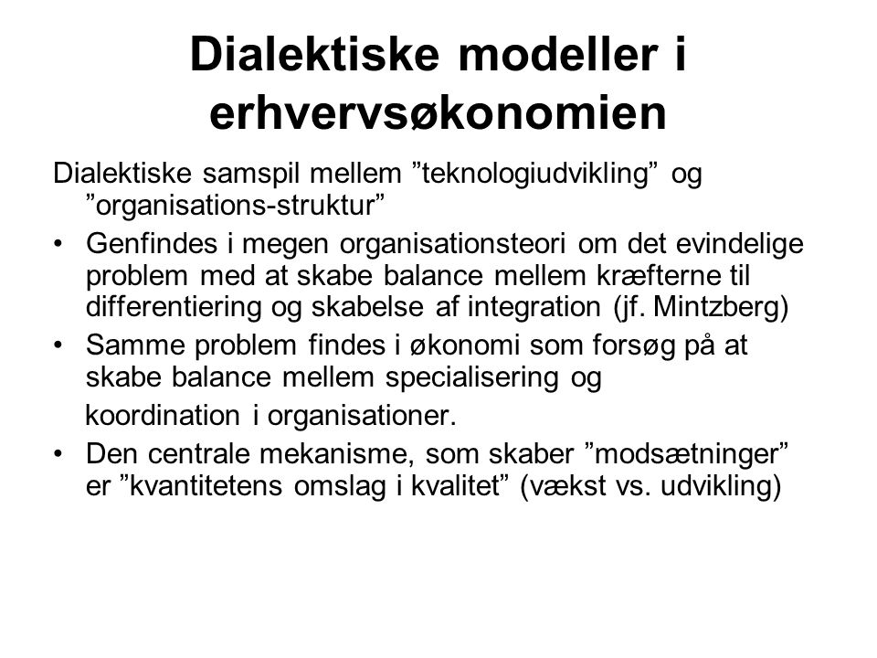 Dialektiske modeller i erhvervsøkonomien