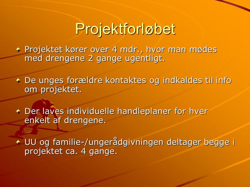 Projektforløbet Projektet kører over 4 mdr., hvor man mødes med drengene 2 gange ugentligt.