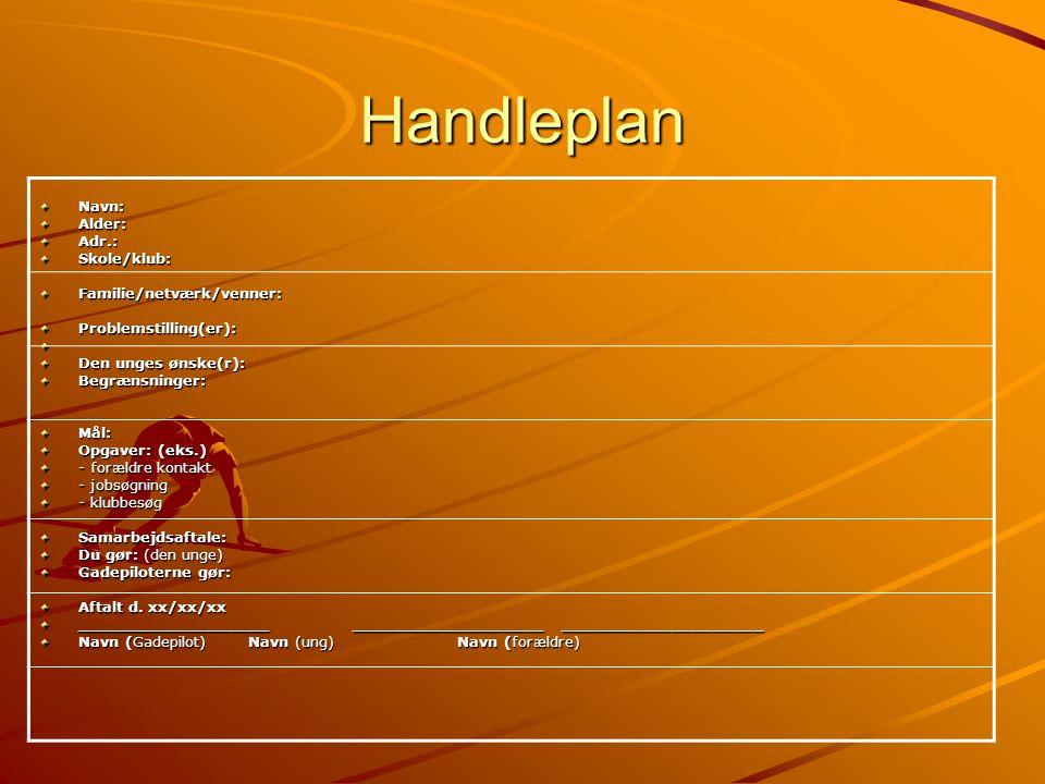 Handleplan Navn: Alder: Adr.: Skole/klub: Familie/netværk/venner:
