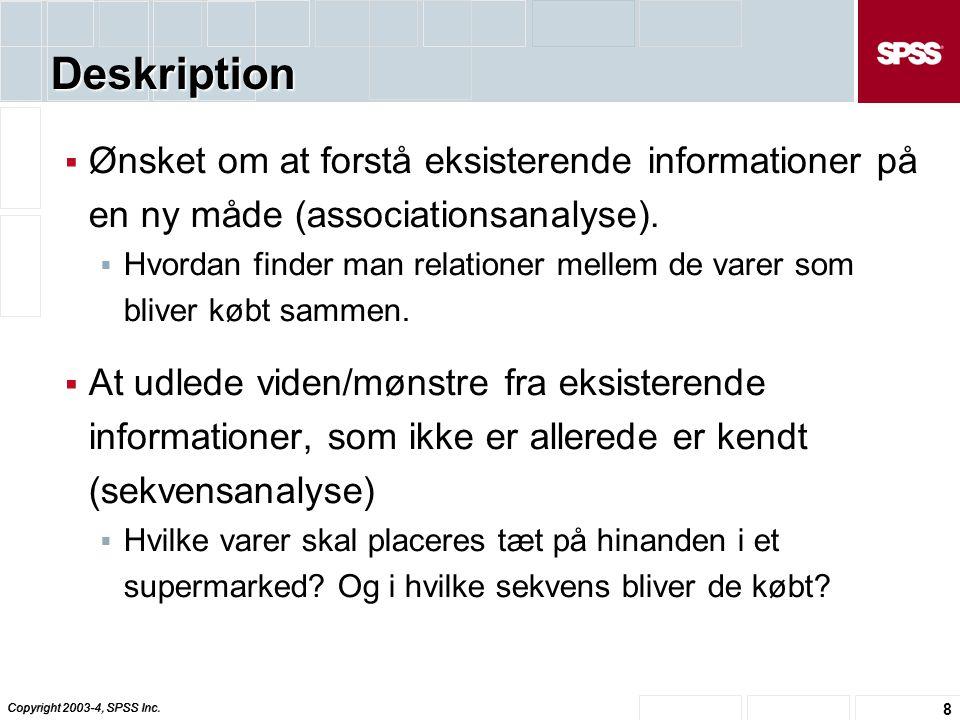 Deskription Ønsket om at forstå eksisterende informationer på en ny måde (associationsanalyse).