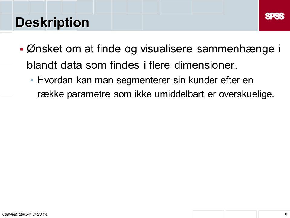 Deskription Ønsket om at finde og visualisere sammenhænge i blandt data som findes i flere dimensioner.