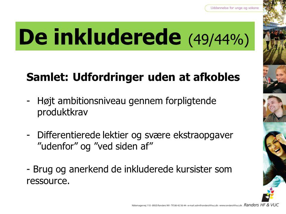 De inkluderede (49/44%) Samlet: Udfordringer uden at afkobles