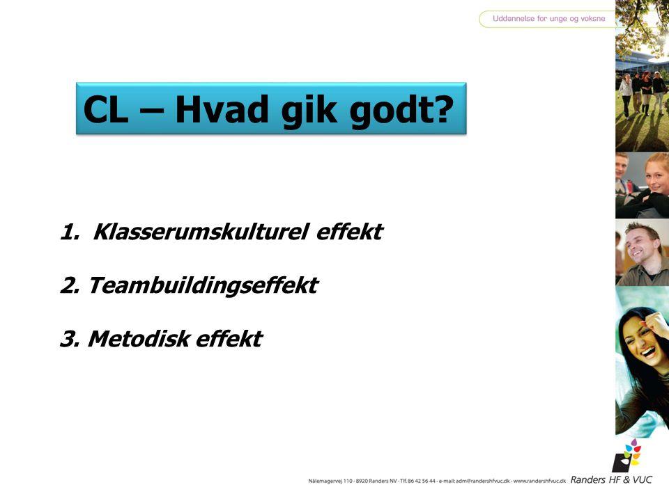 CL – Hvad gik godt Klasserumskulturel effekt 2. Teambuildingseffekt