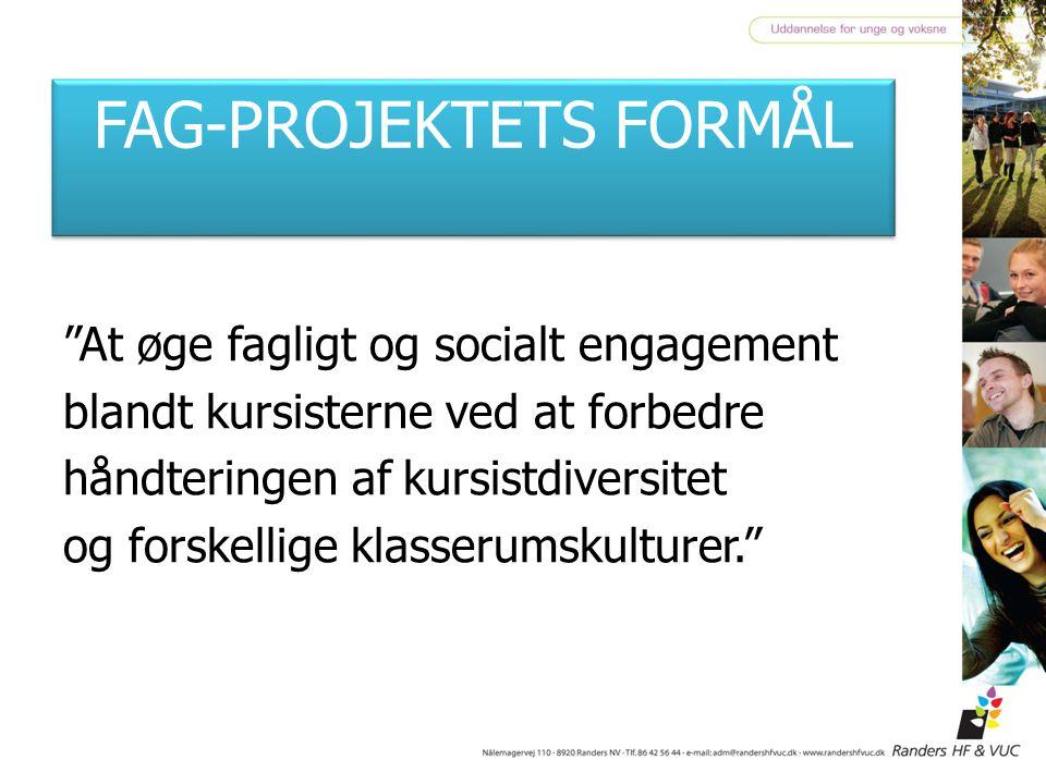 FAG-PROJEKTETS FORMÅL