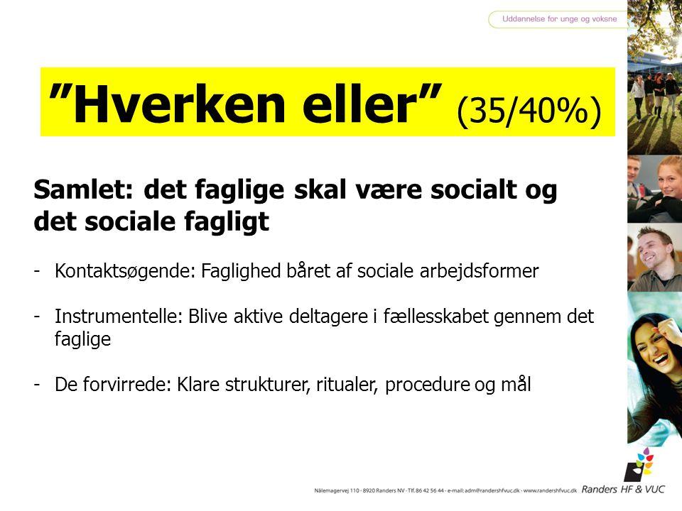 Hverken eller (35/40%) Samlet: det faglige skal være socialt og det sociale fagligt. Kontaktsøgende: Faglighed båret af sociale arbejdsformer.