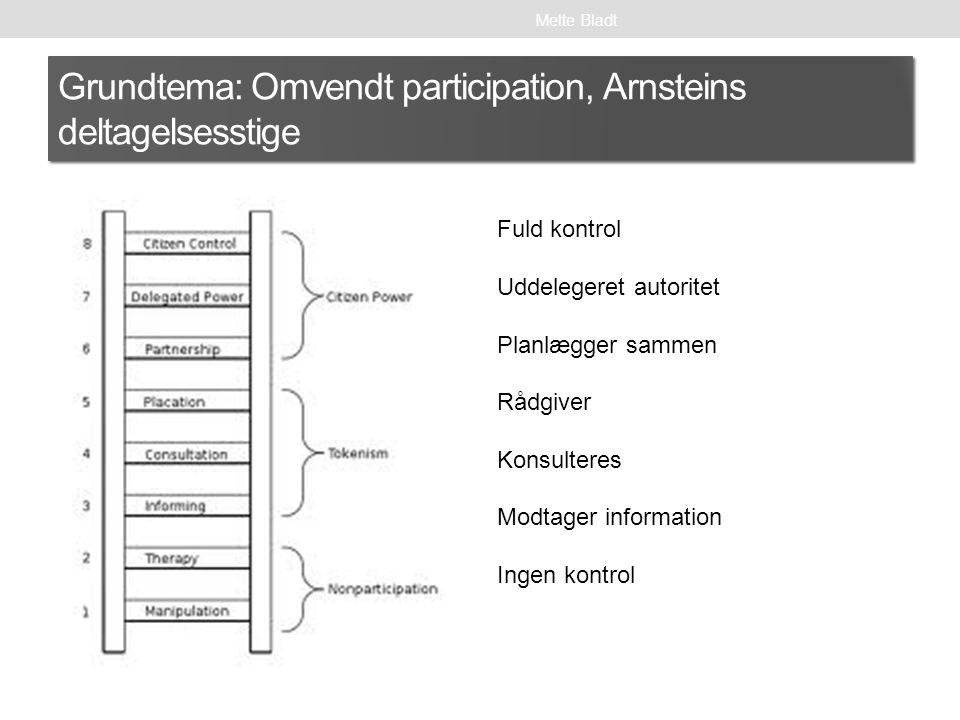 Grundtema: Omvendt participation, Arnsteins deltagelsesstige