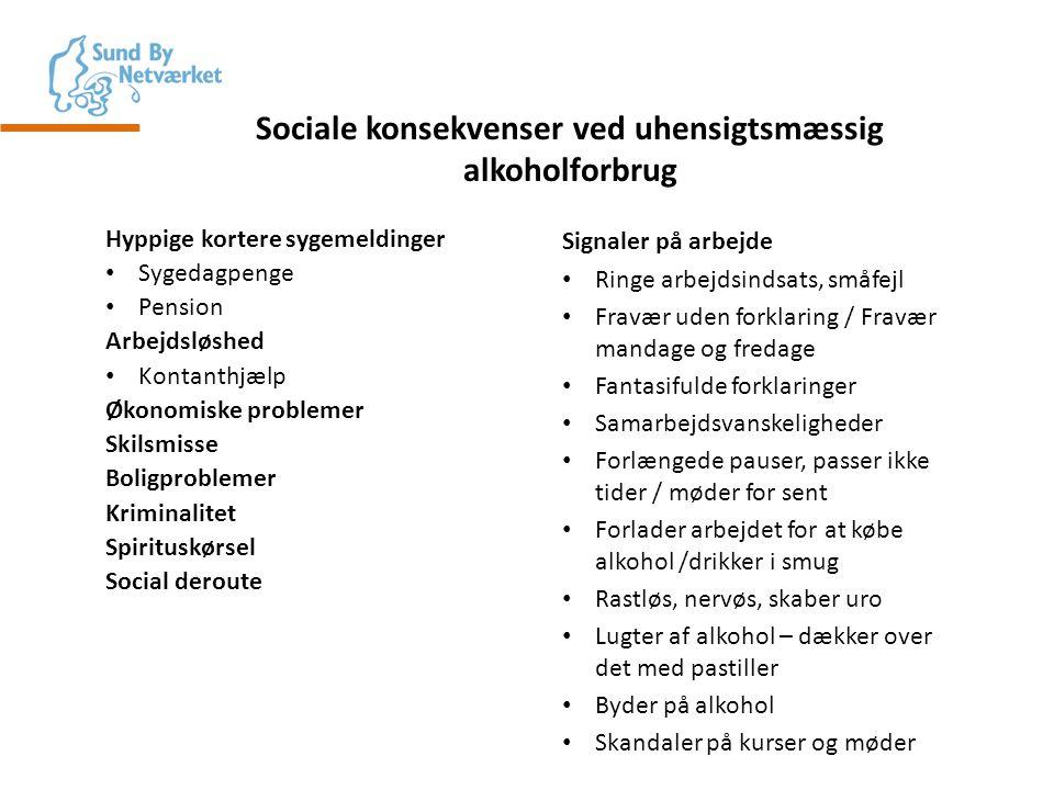 Sociale konsekvenser ved uhensigtsmæssig alkoholforbrug