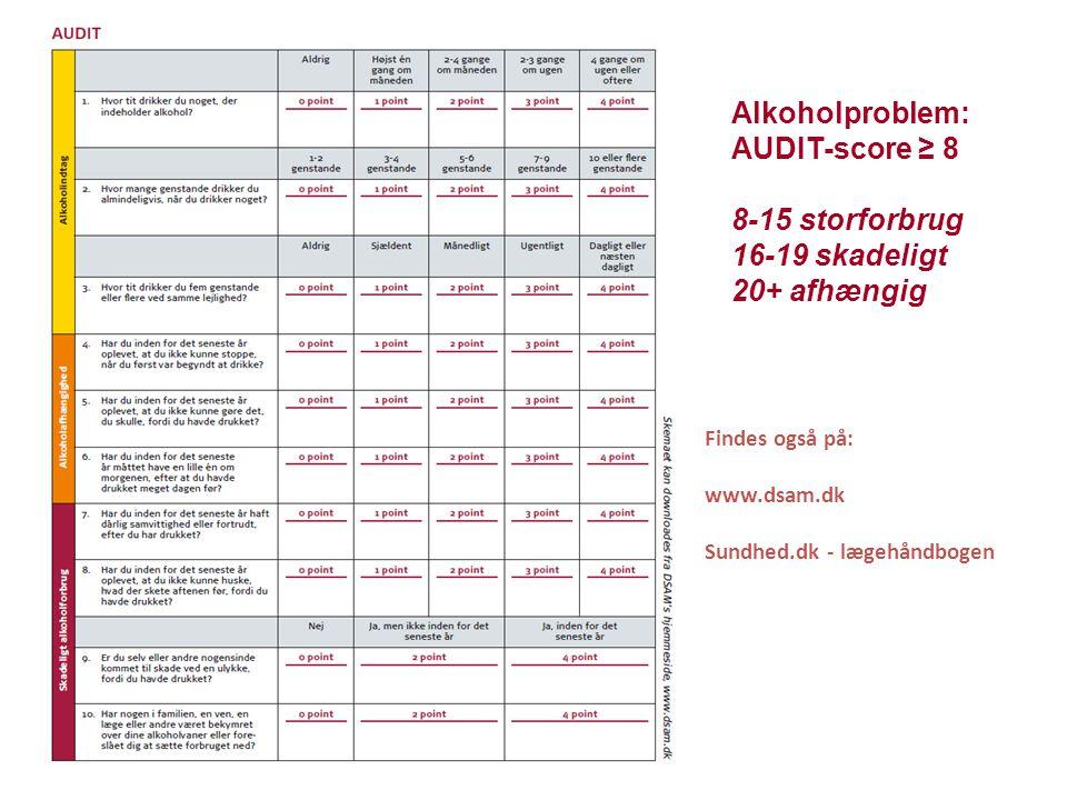 Alkoholproblem: AUDIT-score ≥ 8