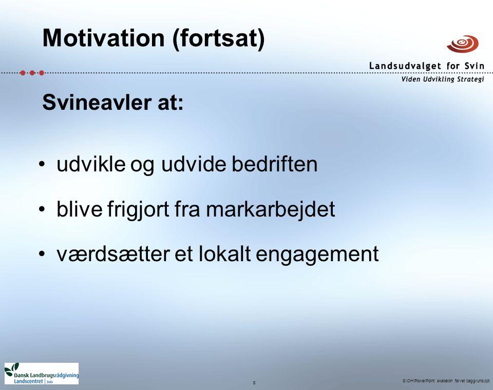 Motivation (fortsat) Svineavler at: udvikle og udvide bedriften